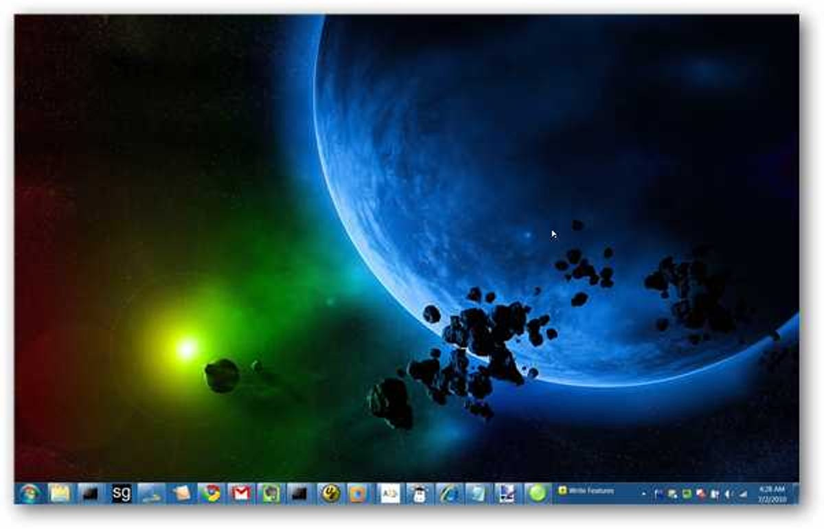 Linux with Windows colors, taskbar, wallpaper