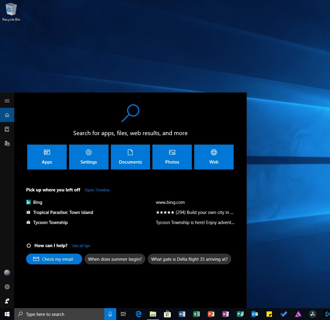 Cortana / Search bar should always remain dark when using system-wide dark mode, like the address bar of Edge in dark theme : Windows10